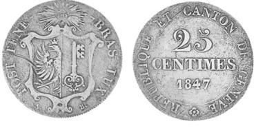 Suiza - Canton de Ginebra. 25 Cents de 1847