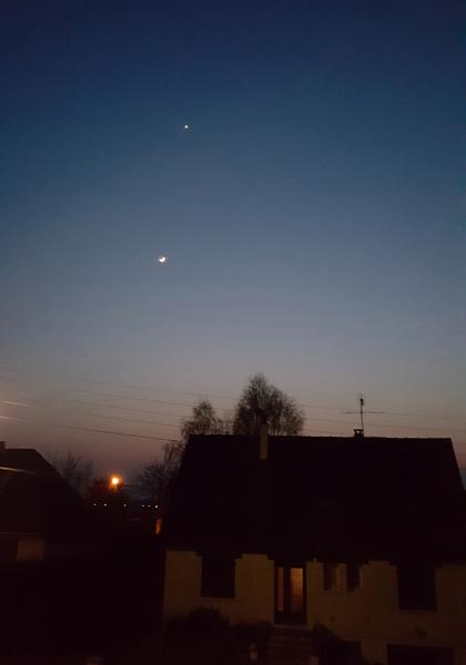 Alignement Soleil Lune Vénus le 27 Mars 2020 Soleil21