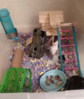 I made a popsicle stick and tongue depressor riser/staircase/platform and cleaned then transferred everything to a large tub, to be converted soon. more space for more toys and more mice.